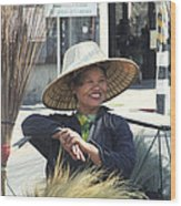 Broom Seller  Wood Print