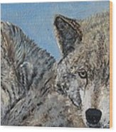 Brother And Sister Wolves Wood Print