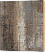 Slender - Grey And Brown Abstract Art Painting Wood Print