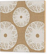 Brown And White Floral Wood Print