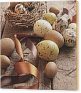 Brown And Yellow Eggs With Ribbons For Easter Wood Print