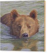 Brown Bear Painting Wood Print