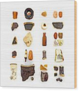 Brown China And Amber Sea Glass Wood Print by Jennifer Booher