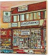 Brown Derby Van Horne Shopping Center Clay's Pharmacy Montreal Paintings City Scenes Carole Spandau Wood Print