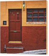 Brown Door In Mexico Wood Print