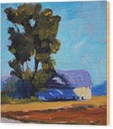 Brown Farm Landscape Wood Print