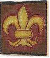Brown Fleur De Lis Wood Print