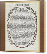 Brown Frame Color Wreath Desiderata Poem Wood Print