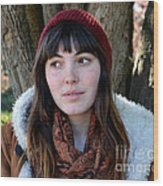 Brown Haired And Freckle Faced Natural Beauty Model  Xvii  Wood Print