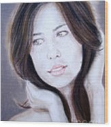 Brown Haired And Lightly Freckled Beauty Wood Print