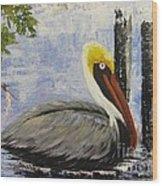 Brown Pelican Revisited Wood Print