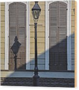Brown Shutter Doors And Street Lamp - New Orleans Wood Print