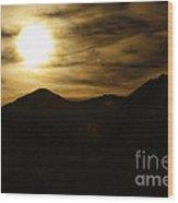 Brown Sky And Ridge Wood Print