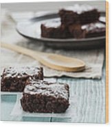 Brownies With A Wood Spoon Kitchen Art Wood Print