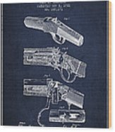 Browning Rifle Patent Drawing From 1921 - Navy Blue Wood Print