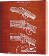Browning Rifle Patent Drawing From 1921 - Red Wood Print