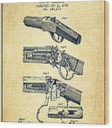 Browning Rifle Patent Drawing From 1921 - Vintage Wood Print