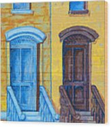 Brownstone Mural Art Wood Print