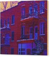 Brownstones In Winter 6 Wood Print
