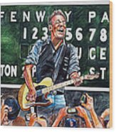 Bruce Springsteen At Fenway Park Wood Print