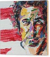 Bruce Springsteen Wood Print by Derek Russell