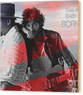 Bruce Springsteen Wood Print by Marvin Blaine