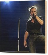 Bruce Springsteen Performing The River At Glastonbury In 2009 - 1 Wood Print