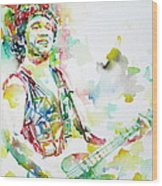 Bruce Springsteen Playing The Guitar Watercolor Portrait.2 Wood Print