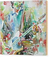 Bruce Springsteen Playing The Guitar Watercolor Portrait.3 Wood Print