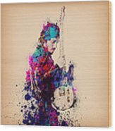 Bruce Springsteen Splats And Guitar Wood Print
