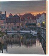 Bruges Canal Dawn Wood Print