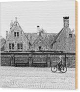 Bruges Cyclist Wood Print