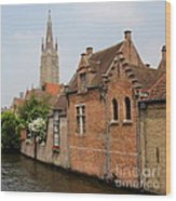 Bruges Houses With Bell Tower Wood Print by Carol Groenen