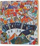 Bruges Rooftops Wood Print