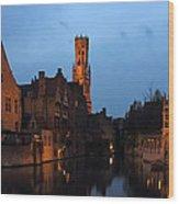 Bruges Rozenhoedkaai Night Scene Wood Print by Kiril Stanchev