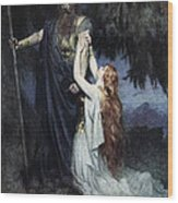 Brunhilde Knelt At His Feet, From The Wood Print