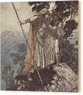 Brunnhilde From The Rhinegold And The Valkyrie Wood Print by Arthur Rackham