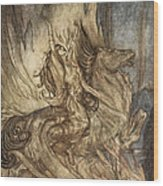 Brunnhilde On Grane Leaps Wood Print