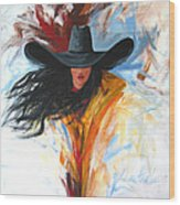 Brushstroke Cowgirl Wood Print