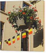 Brussels Belgium - Flowers Flags Football Wood Print