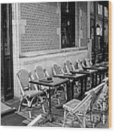 Brussels Cafe In Black And White Wood Print
