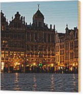 Brussels - Grand Place Facades Golden Glow Wood Print