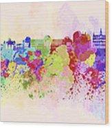 Brussels Skyline In Watercolor Background Wood Print