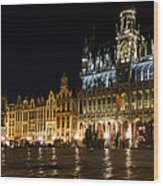 Brussels - The Magnificent Grand Place At Night Wood Print