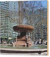 Bryant Park Fountain Wood Print by Tony Ambrosio