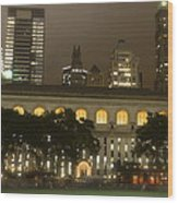 Bryant Park In New York City At Night Wood Print by Michael Dagostino