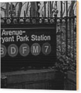 Bryant Park Station Wood Print