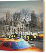 Bryant Park Taxi Wood Print by Diana Angstadt