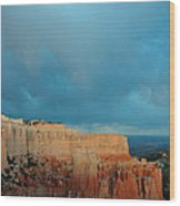 Bryce Canyon And Stormy Sky Wood Print