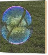 Bubble On Grass With St.johns Bridge Wood Print